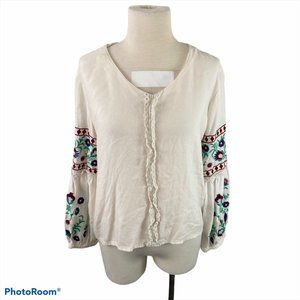 PARORY Beige Long Sleeve Shirt with Floral Sleeves